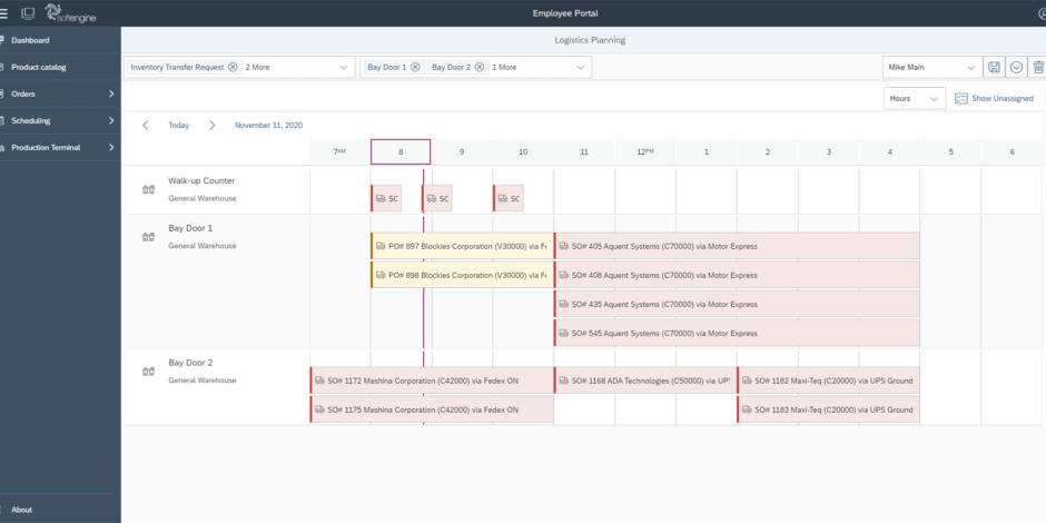 The scheduling views can be consumed in an hourly, daily, weekly, or monthly view, with simple drag-and-drop lane association. Documents can be scheduled from an unassigned sidebar, keeping non-current items out of your view. You can also customize your user experience by adjusting your perspective to a specific warehouse or marketing document type.