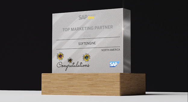 Softengine is proud to accept the SAP Business One North America Marketing Partner of the Year award